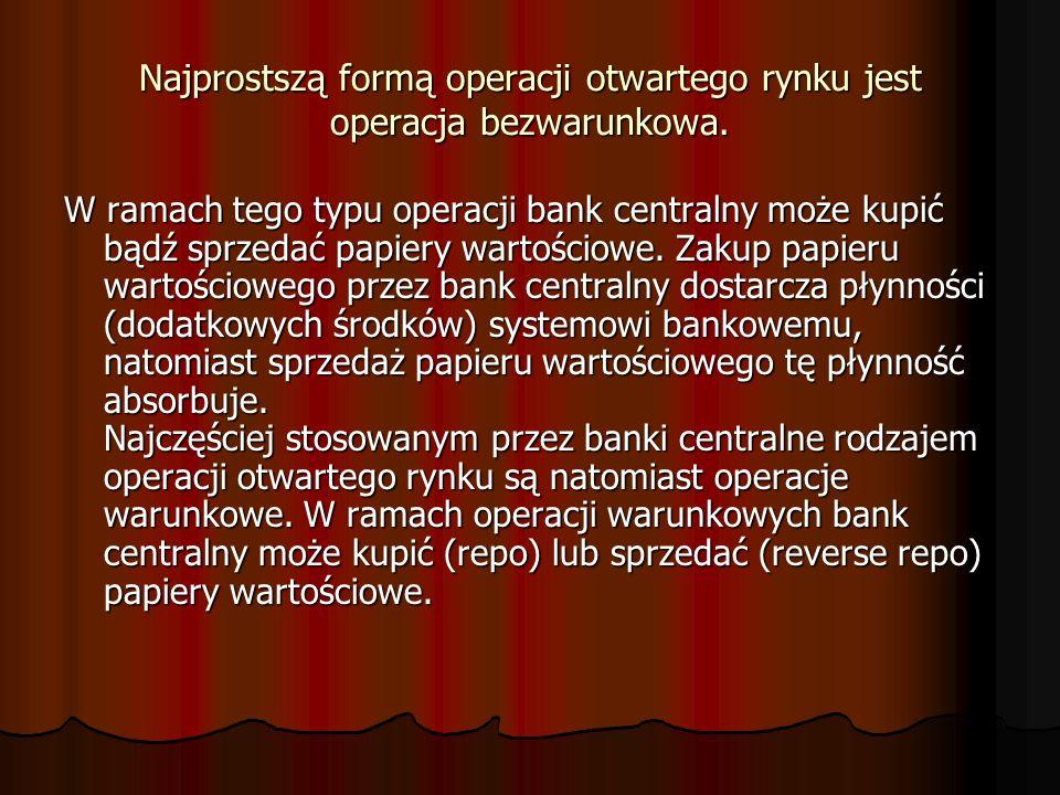 Najprostszą formą operacji otwartego rynku jest operacja bezwarunkowa. W ramach tego typu operacji bank centralny może kupić bądź sprzedać papiery war