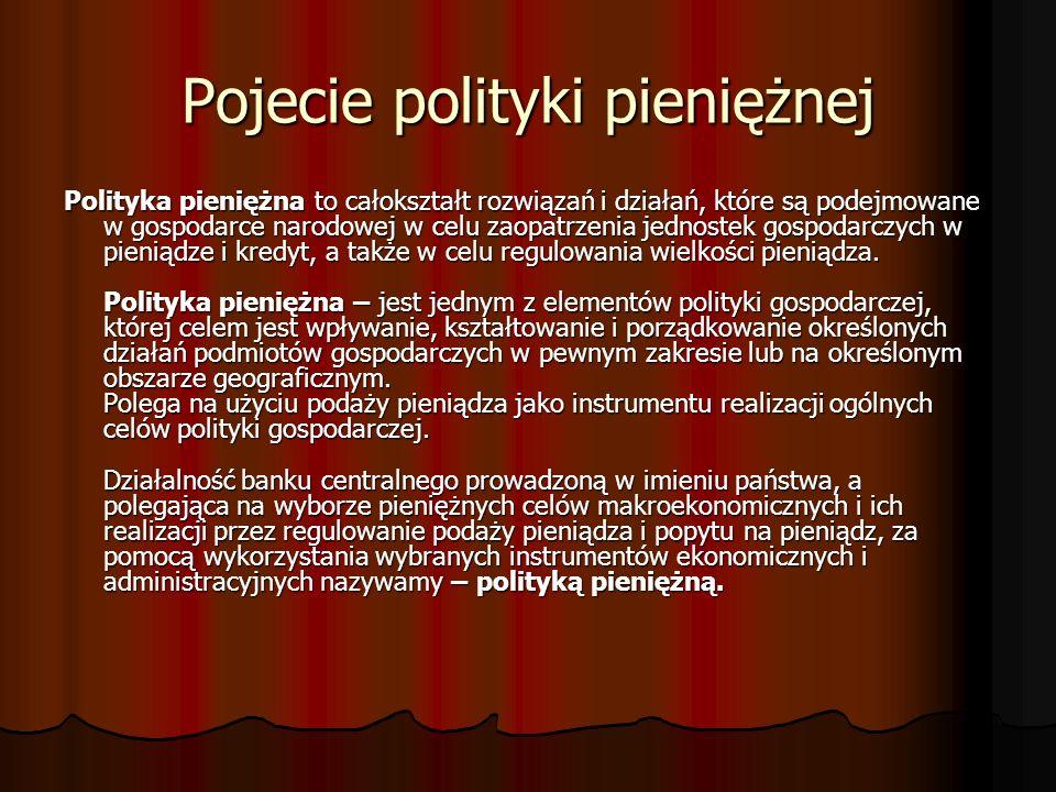 Rodzaje polityki pieniężnej Z punktu widzenia kształtowania celów realizacji polityki pieniężnej wyróżnia się politykę pieniężną: - ustrojową - procesową