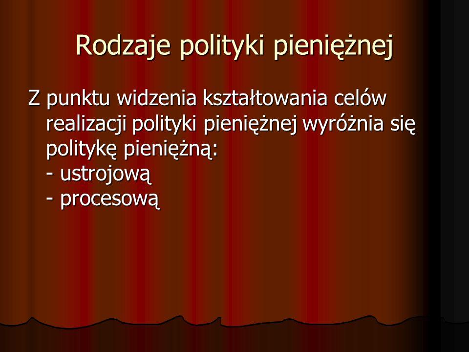 Rodzaje polityki pieniężnej Z punktu widzenia kształtowania celów realizacji polityki pieniężnej wyróżnia się politykę pieniężną: - ustrojową - proces