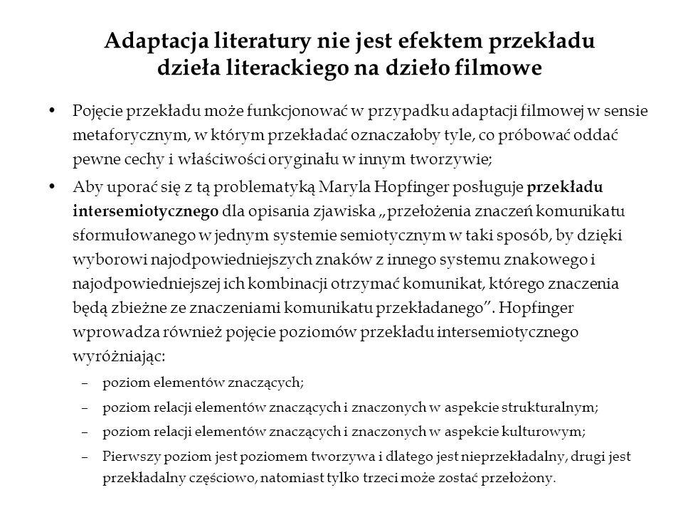 Adaptacja literatury nie jest efektem przekładu dzieła literackiego na dzieło filmowe Pojęcie przekładu może funkcjonować w przypadku adaptacji filmow