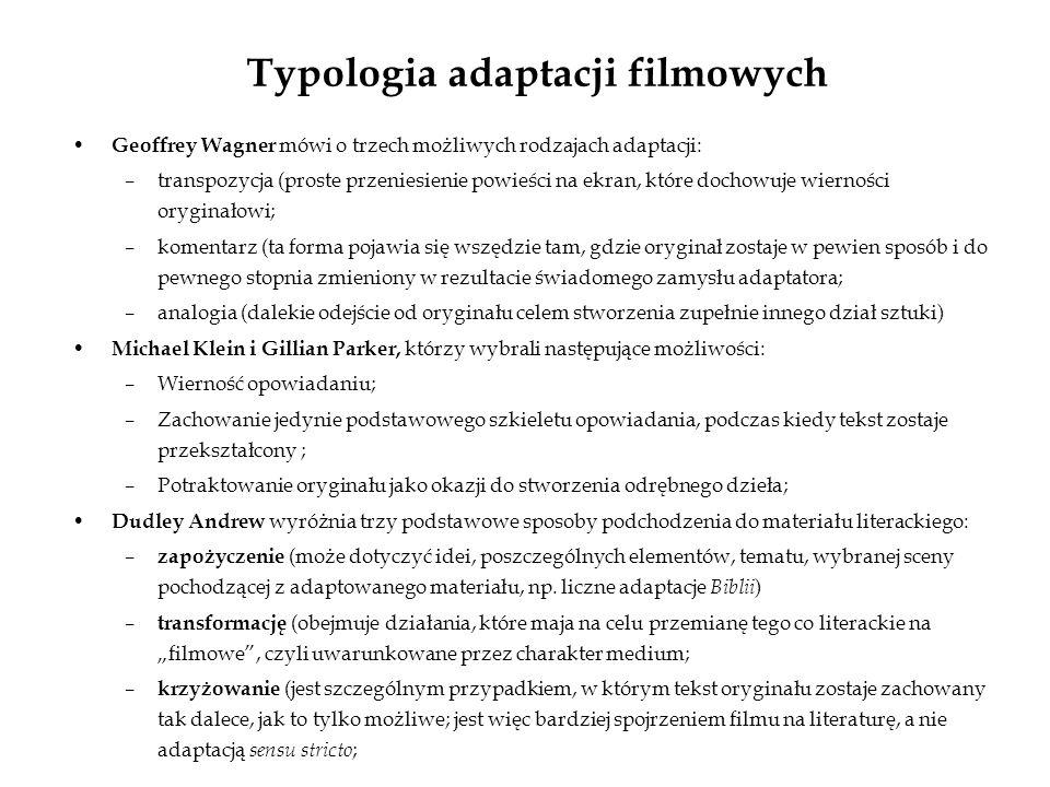 Typologia adaptacji filmowych Geoffrey Wagner mówi o trzech możliwych rodzajach adaptacji: –transpozycja (proste przeniesienie powieści na ekran, któr
