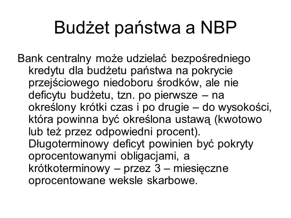 Budżet państwa a NBP Bank centralny może udzielać bezpośredniego kredytu dla budżetu państwa na pokrycie przejściowego niedoboru środków, ale nie defi