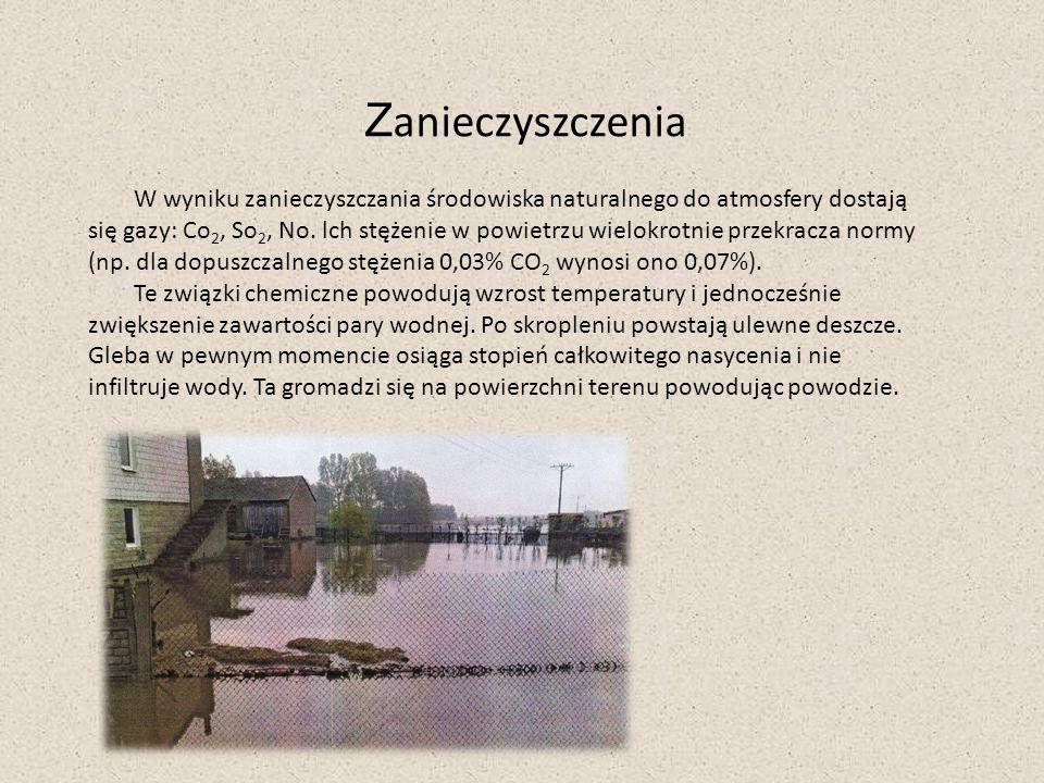 Z anieczyszczenia W wyniku zanieczyszczania środowiska naturalnego do atmosfery dostają się gazy: Co 2, So 2, No. lch stężenie w powietrzu wielokrotni