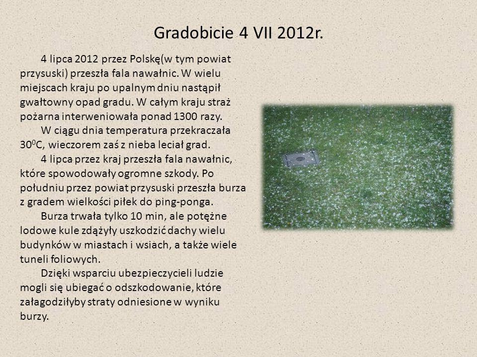 4 lipca 2012 przez Polskę(w tym powiat przysuski) przeszła fala nawałnic. W wielu miejscach kraju po upalnym dniu nastąpił gwałtowny opad gradu. W cał