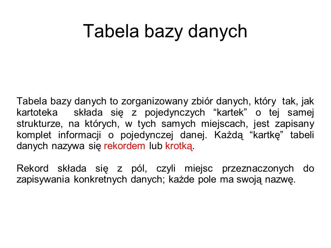 Typy relacji w bazach danych relacja jeden-do-jednego - każdy rekord w tabeli A może mieć tylko jeden dopasowany rekord z tabeli B, i tak samo każdy rekord w tabeli B może mieć tylko jeden dopasowany rekord z tabeli A.
