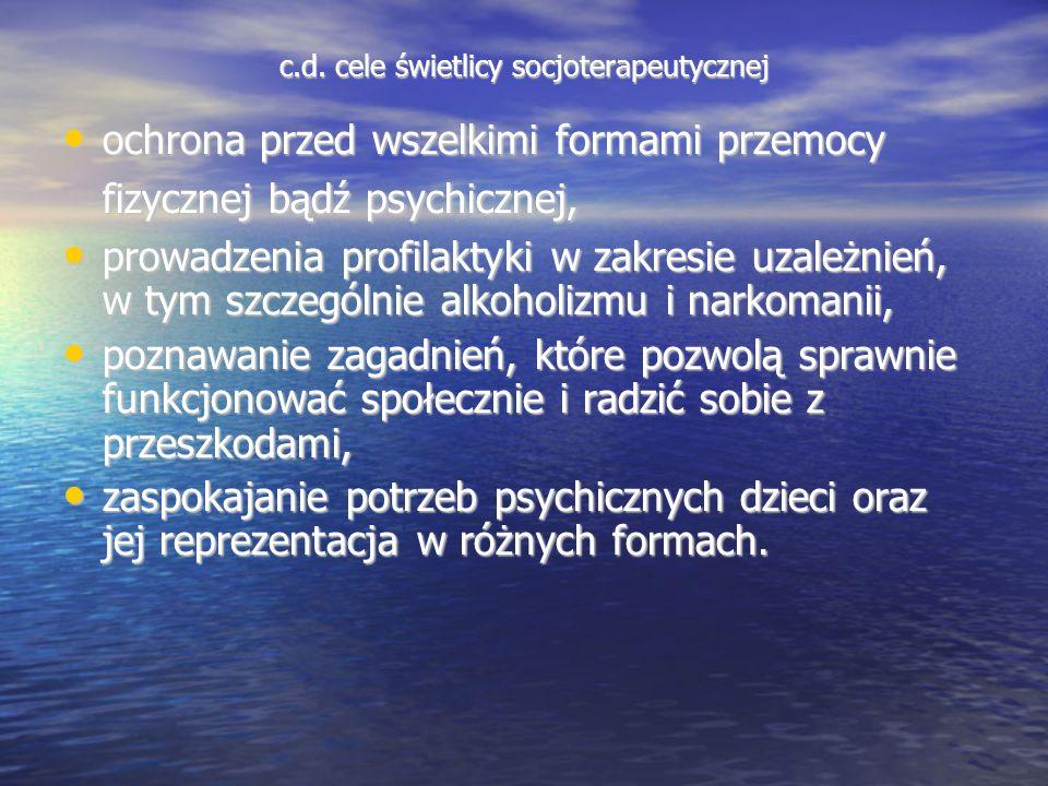 c.d. cele świetlicy socjoterapeutycznej ochrona przed wszelkimi formami przemocy fizycznej bądź psychicznej, ochrona przed wszelkimi formami przemocy