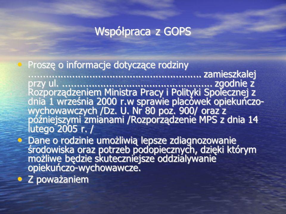 Współpraca z GOPS Proszę o informacje dotyczące rodziny............................................................ zamieszkalej przy ul..............
