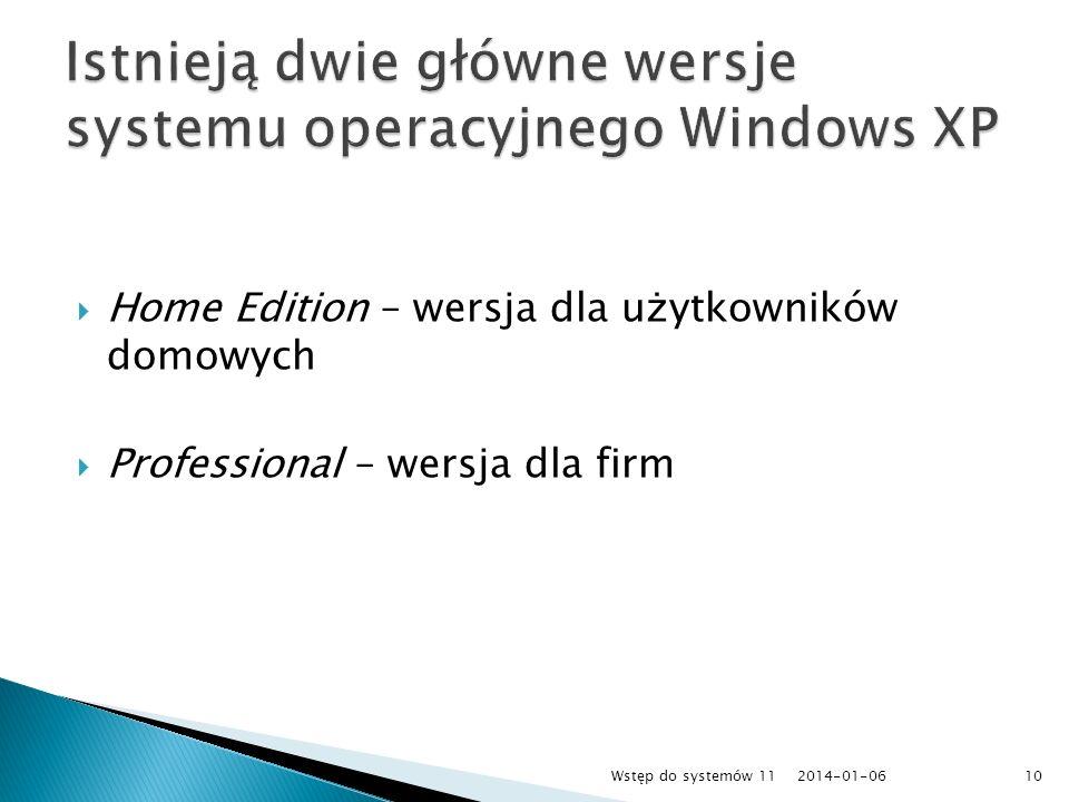Home Edition – wersja dla użytkowników domowych Professional – wersja dla firm 2014-01-0610Wstęp do systemów 11