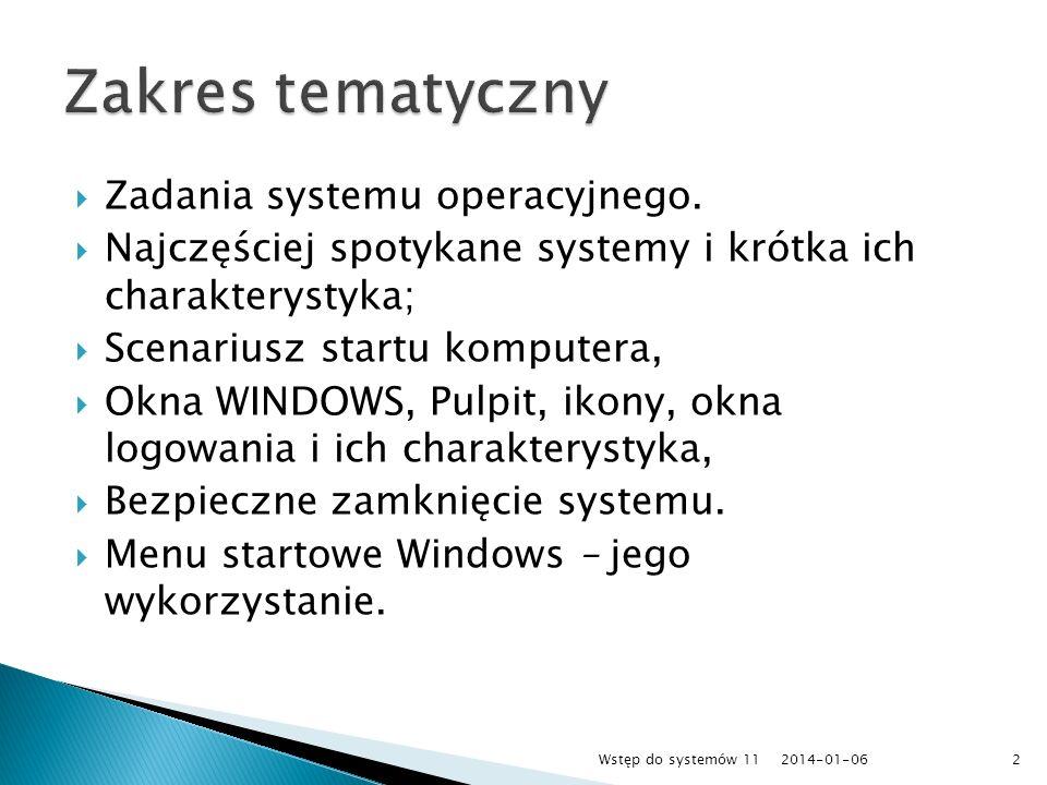 Zadania systemu operacyjnego. Najczęściej spotykane systemy i krótka ich charakterystyka; Scenariusz startu komputera, Okna WINDOWS, Pulpit, ikony, ok