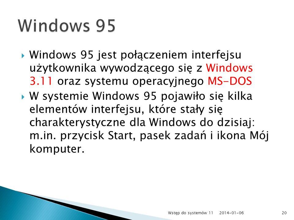 Windows 95 jest połączeniem interfejsu użytkownika wywodzącego się z Windows 3.11 oraz systemu operacyjnego MS-DOS W systemie Windows 95 pojawiło się