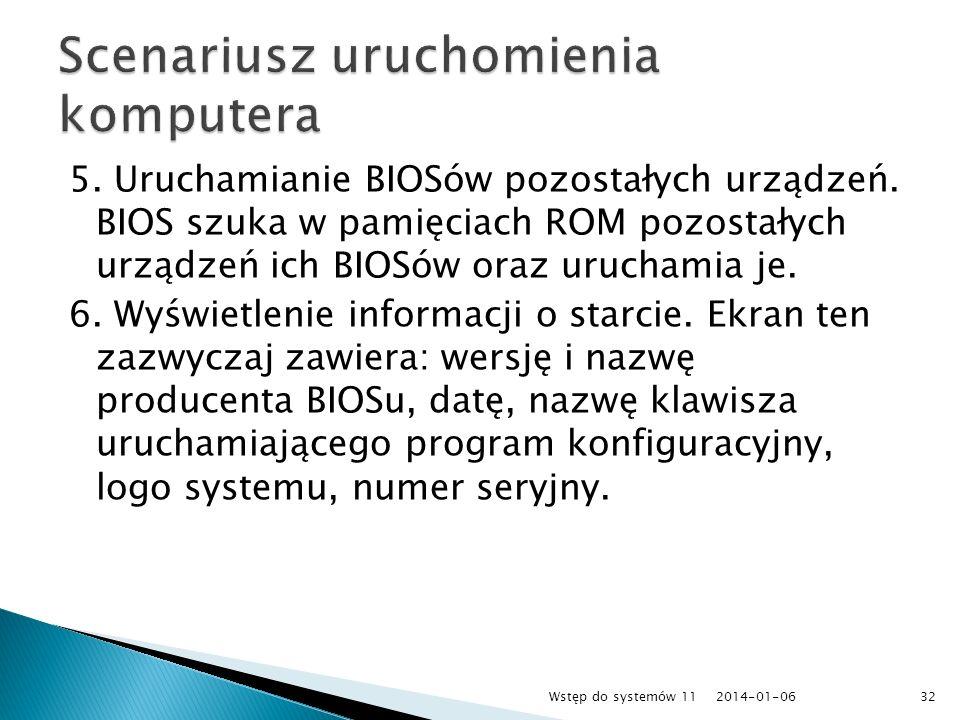 5. Uruchamianie BIOSów pozostałych urządzeń. BIOS szuka w pamięciach ROM pozostałych urządzeń ich BIOSów oraz uruchamia je. 6. Wyświetlenie informacji