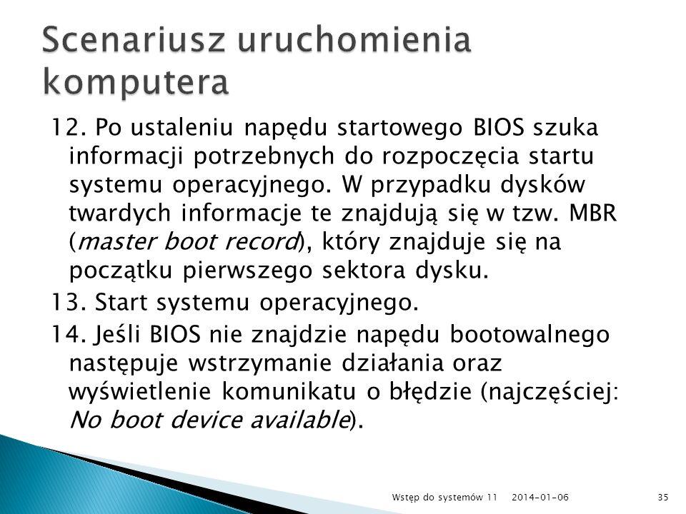 12. Po ustaleniu napędu startowego BIOS szuka informacji potrzebnych do rozpoczęcia startu systemu operacyjnego. W przypadku dysków twardych informacj