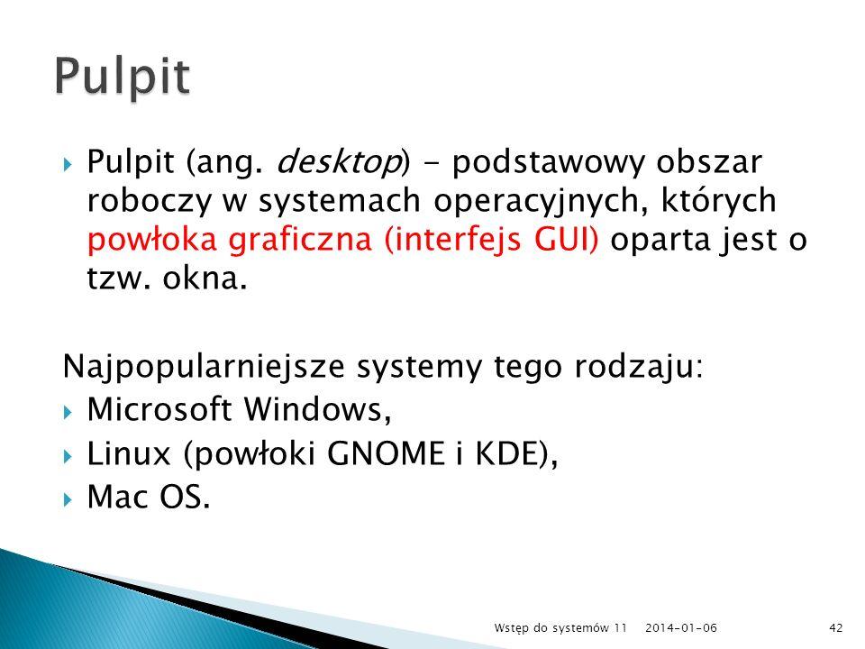 Pulpit (ang. desktop) - podstawowy obszar roboczy w systemach operacyjnych, których powłoka graficzna (interfejs GUI) oparta jest o tzw. okna. Najpopu