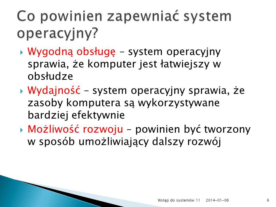 Wygodną obsługę – system operacyjny sprawia, że komputer jest łatwiejszy w obsłudze Wydajność – system operacyjny sprawia, że zasoby komputera są wyko