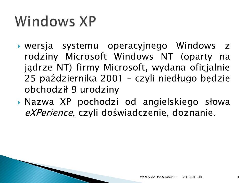 wersja systemu operacyjnego Windows z rodziny Microsoft Windows NT (oparty na jądrze NT) firmy Microsoft, wydana oficjalnie 25 października 2001 – czy