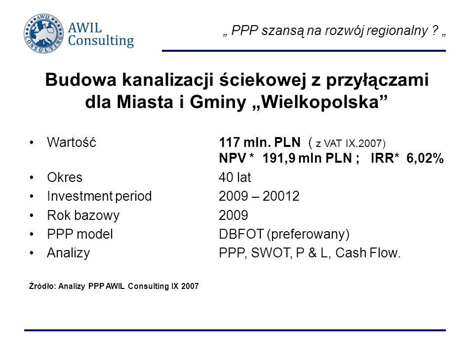 PPP szansą na rozwój regionalny ? Budowa kanalizacji ściekowej z przyłączami dla Miasta i Gminy Wielkopolska Wartość 117 mln. PLN ( z VAT IX.2007) NPV