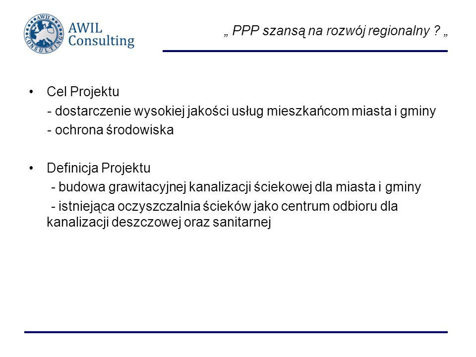 PPP szansą na rozwój regionalny ? Cel Projektu - dostarczenie wysokiej jakości usług mieszkańcom miasta i gminy - ochrona środowiska Definicja Projekt