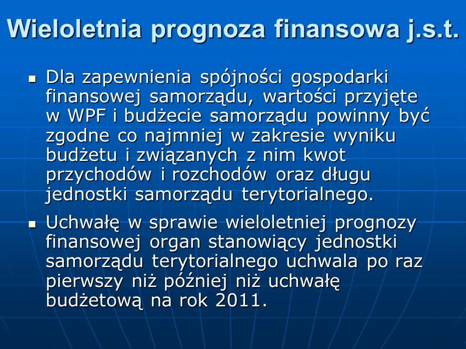 Wieloletnia prognoza finansowa j.s.t. Dla zapewnienia spójności gospodarki finansowej samorządu, wartości przyjęte w WPF i budżecie samorządu powinny