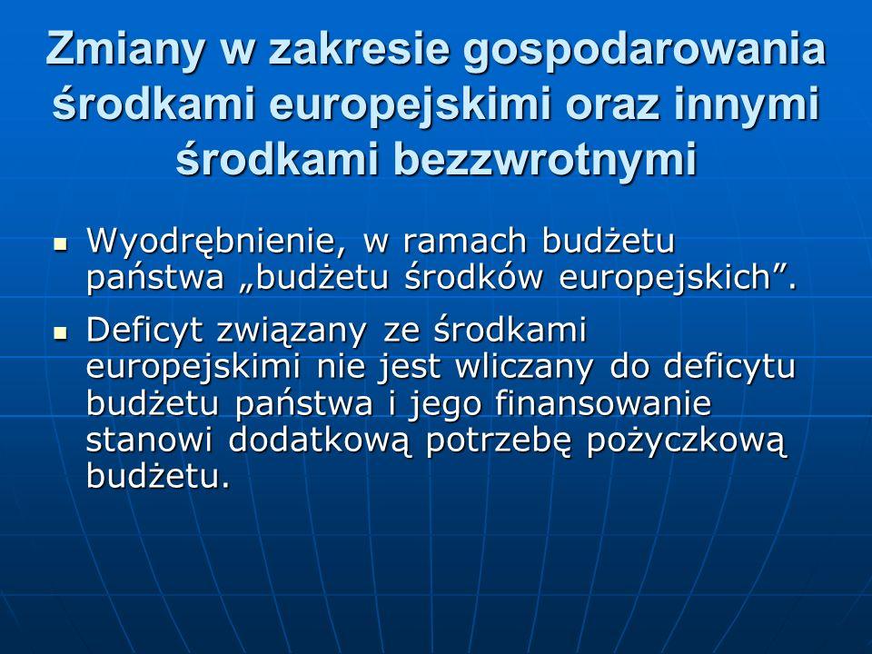 Zmiany w zakresie gospodarowania środkami europejskimi oraz innymi środkami bezzwrotnymi Wyodrębnienie, w ramach budżetu państwa budżetu środków europ