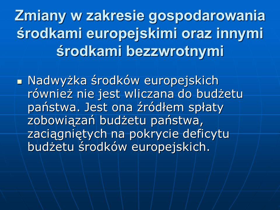 Nadwyżka środków europejskich również nie jest wliczana do budżetu państwa. Jest ona źródłem spłaty zobowiązań budżetu państwa, zaciągniętych na pokry