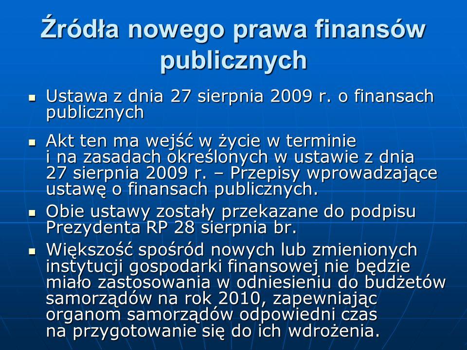 Źródła nowego prawa finansów publicznych Ustawa z dnia 27 sierpnia 2009 r. o finansach publicznych Ustawa z dnia 27 sierpnia 2009 r. o finansach publi