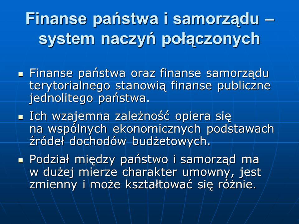 Finanse państwa i samorządu – system naczyń połączonych Finanse państwa oraz finanse samorządu terytorialnego stanowią finanse publiczne jednolitego p