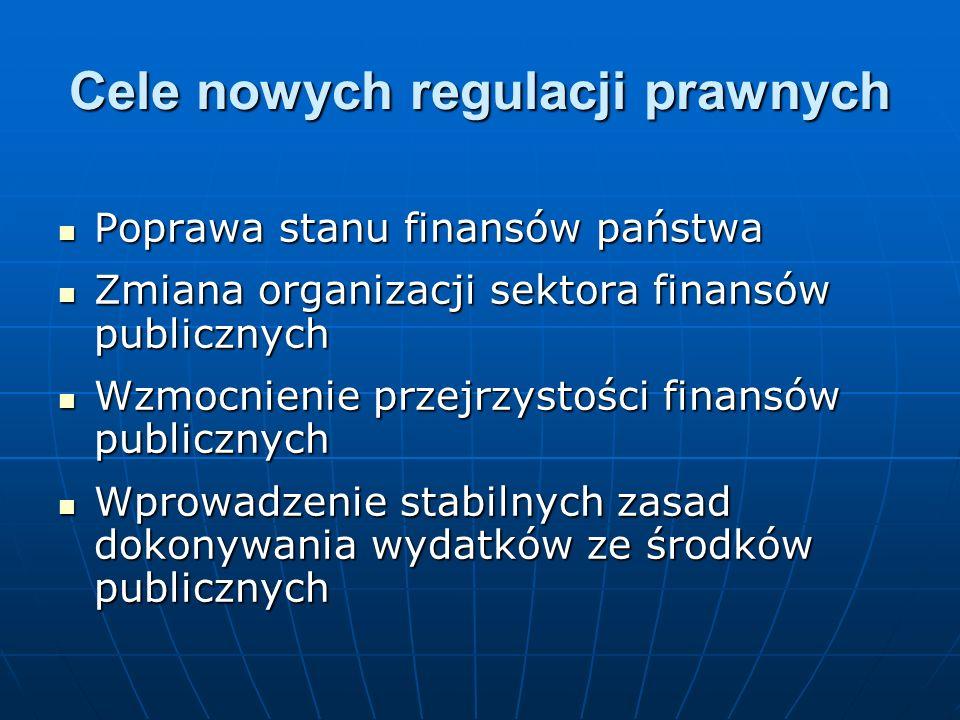 Cele nowych regulacji prawnych Poprawa stanu finansów państwa Poprawa stanu finansów państwa Zmiana organizacji sektora finansów publicznych Zmiana or