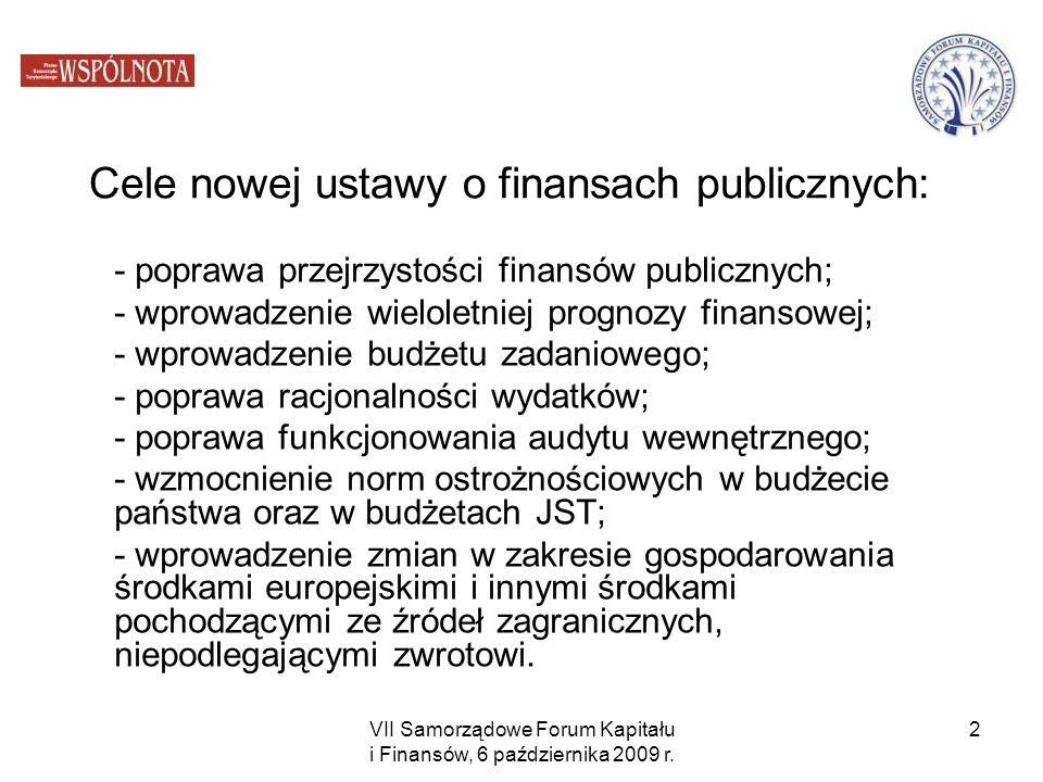 VII Samorządowe Forum Kapitału i Finansów, 6 października 2009 r. 2 Cele nowej ustawy o finansach publicznych: - poprawa przejrzystości finansów publi