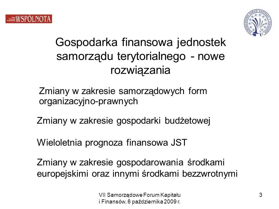 VII Samorządowe Forum Kapitału i Finansów, 6 października 2009 r. 3 Gospodarka finansowa jednostek samorządu terytorialnego - nowe rozwiązania Zmiany