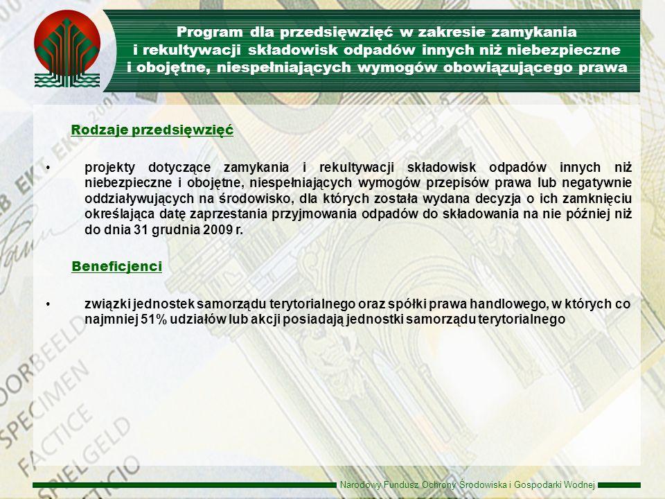 Narodowy Fundusz Ochrony Środowiska i Gospodarki Wodnej Zasady udzielania dofinansowania Dopłaty do oprocentowania dopłata nie może być wyższa niż 300 pkt bazowych w skali roku.