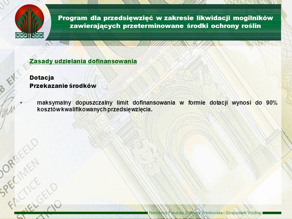 Narodowy Fundusz Ochrony Środowiska i Gospodarki Wodnej Rodzaje przedsięwzięć Przedsięwzięcia inwestycyjne dotyczące: odzysku, w tym przetwarzania i recyklingu rozwoju nowych technologii recyklingu zbierania i unieszkodliwiania zużytego sprzętu elektrycznego i elektronicznego Beneficjenci jednostki samorządu terytorialnego przedsiębiorcy (organizacje odzysku, podmioty zajmujące się zbieraniem, odzyskiem, recyklingiem i unieszkodliwianiem zużytego sprzętu elektrycznego i elektronicznego oraz podmioty prowadzące działalność badawczą w zakresie gospodarowania zużytym sprzętem elektrycznym i elektronicznym) Program dla przedsięwzięć w zakresie wsparcia gospodarowania odpadami zużytego sprzętu elektrycznego i elektronicznego oraz edukacji ekologicznej i rozwoju technologii w tych dziedzinach
