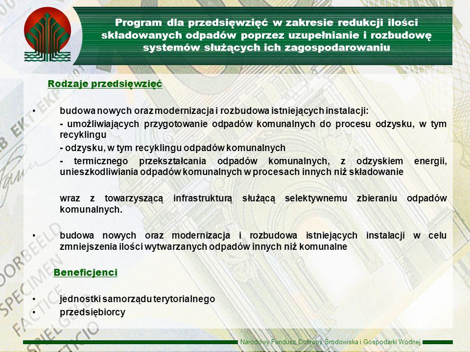 Narodowy Fundusz Ochrony Środowiska i Gospodarki Wodnej Zasady udzielania dofinansowania Pożyczka do 80% kosztów kwalifikowanych przedsięwzięcia oprocentowanie - 0,3 s.r.w.