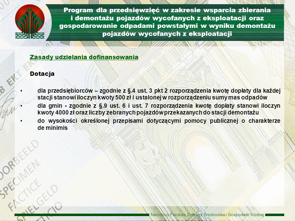 Narodowy Fundusz Ochrony Środowiska i Gospodarki Wodnej Rodzaje przedsięwzięć rodzaje przedsięwzięć, które mogą uzyskać dofinansowanie w ramach programu są tożsame jak obowiązujące dla V osi POIiŚ i wskazane w dokumencie pod nazwą Szczegółowy opis priorytetów PO IiŚ (zatwierdzonym przez Komisję Europejską decyzją z dnia 7 grudnia 2007 r.