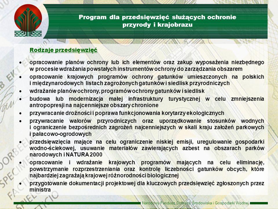 Narodowy Fundusz Ochrony Środowiska i Gospodarki Wodnej Beneficjenci podmioty będące właścicielem, użytkownikiem wieczystym lub zarządcą obszaru lub obiektu jednostka organizacyjna, której powierzono realizację zadań wynikających z planów i programów przyjętych lub zaakceptowanych przez ministra właściwego ds.