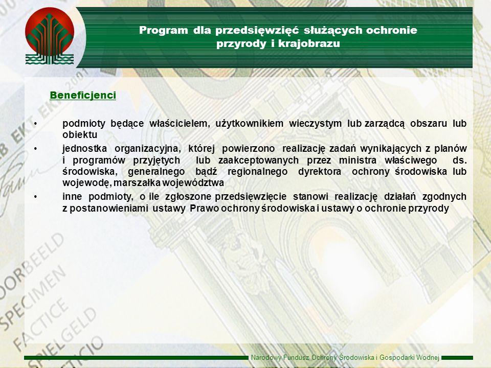 Narodowy Fundusz Ochrony Środowiska i Gospodarki Wodnej Zasady udzielania dofinansowania Dotacje Przekazanie środków jednostkom budżetowym maksymalna intensywność dofinansowania - 100 % kosztów kwalifikowanych minimalna wartość projektu – 50 tys.