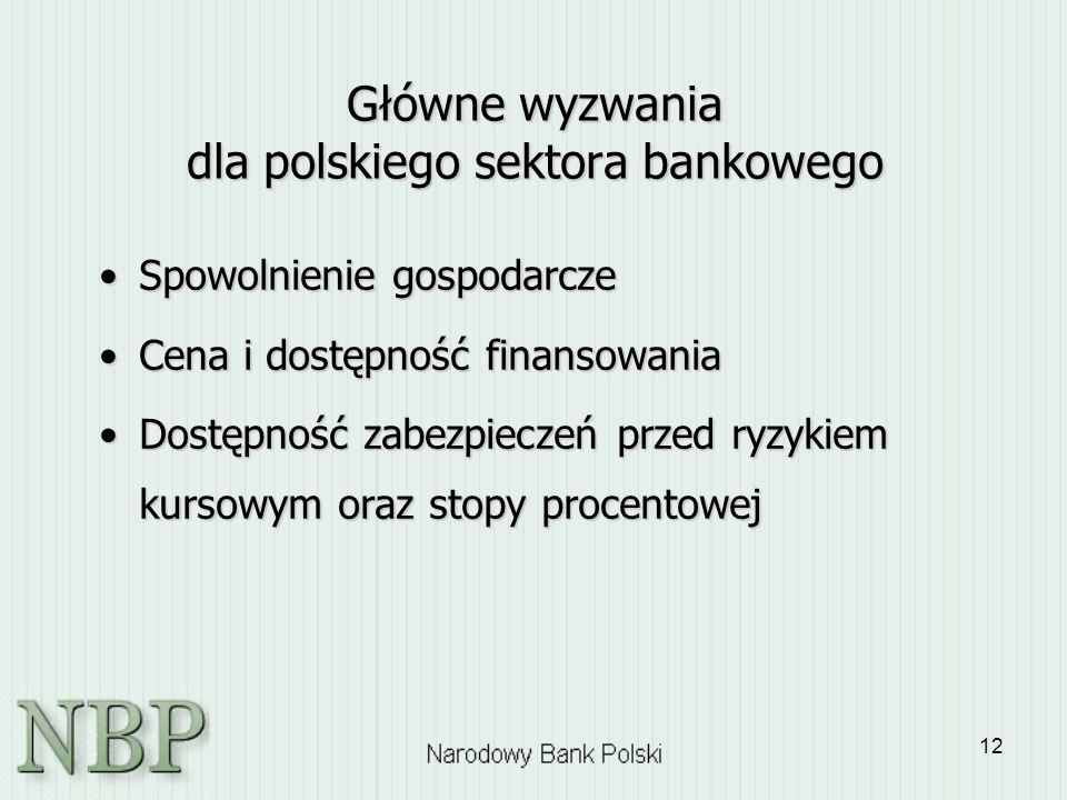 12 Główne wyzwania dla polskiego sektora bankowego Spowolnienie gospodarczeSpowolnienie gospodarcze Cena i dostępność finansowaniaCena i dostępność fi