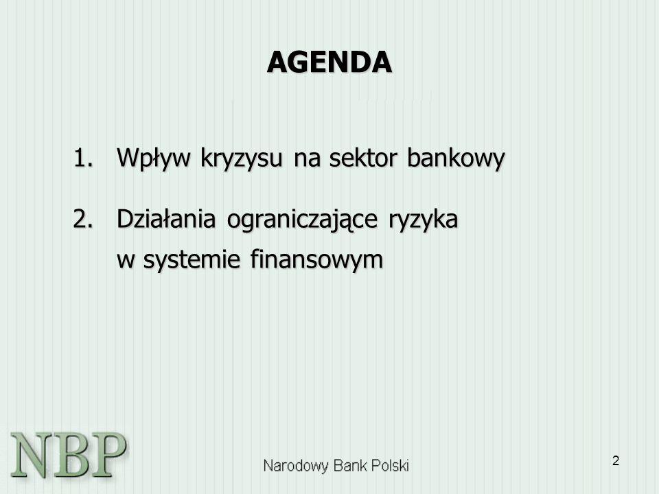 2 AGENDA 1.Wpływ kryzysu na sektor bankowy 2.Działania ograniczające ryzyka w systemie finansowym