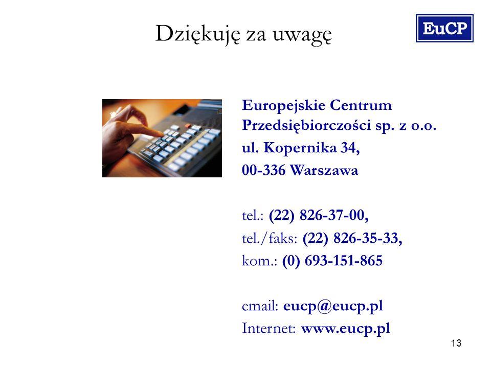 13 Dziękuję za uwagę Europejskie Centrum Przedsiębiorczości sp.