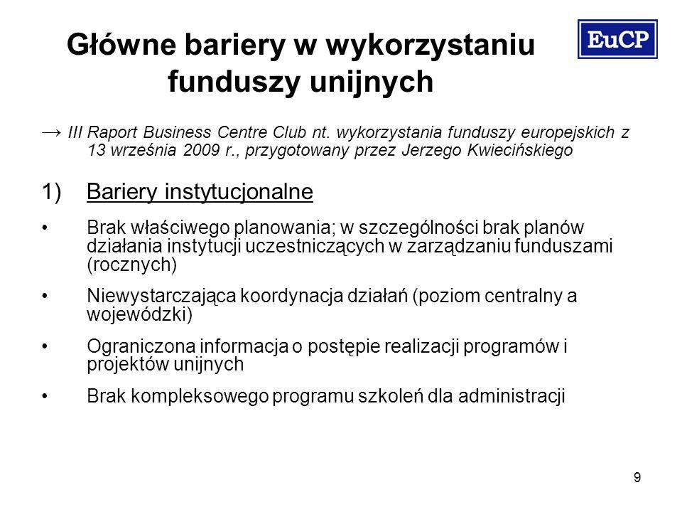 10 2) Bariery prawne i proceduralne Przepisy pomocy publicznej (uzgodnienia z KE) Prawo budowlane, wymogi ochrony środowiska i zasady planowania przestrzennego Skomplikowanie i przewlekłość procedur, zbyt wygórowane wymogi wobec podmiotów starających się o niewielkie dofinansowanie Główne bariery w wykorzystaniu funduszy unijnych