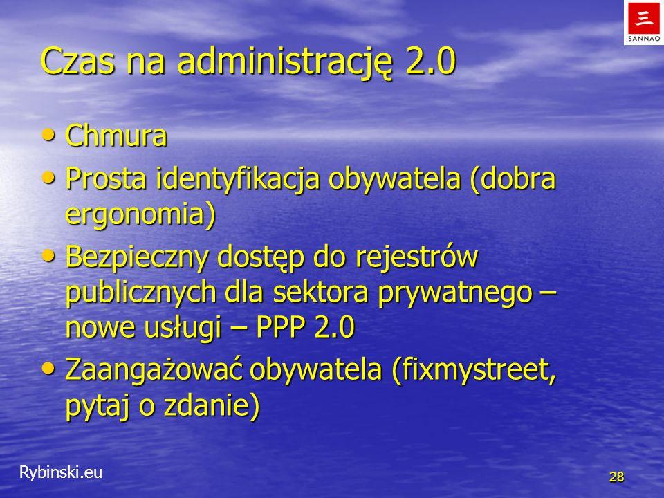Rybinski.eu Czas na administrację 2.0 Chmura Chmura Prosta identyfikacja obywatela (dobra ergonomia) Prosta identyfikacja obywatela (dobra ergonomia)