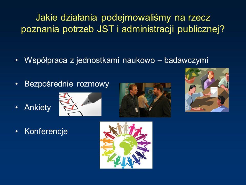 Jakie działania podejmowaliśmy na rzecz poznania potrzeb JST i administracji publicznej? Współpraca z jednostkami naukowo – badawczymi Bezpośrednie ro