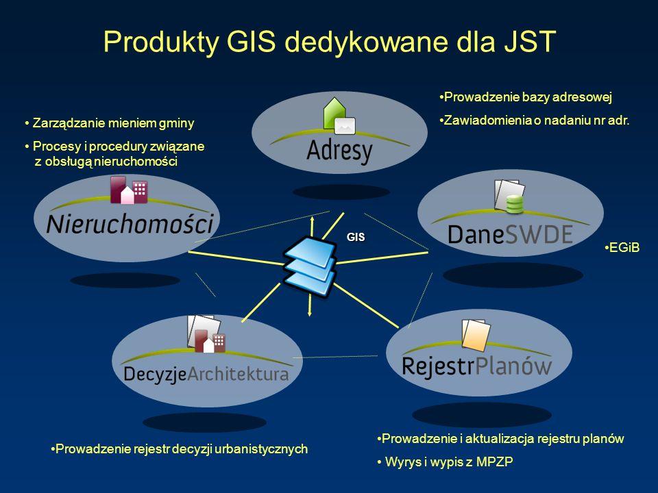 Produkty GIS dedykowane dla JST Prowadzenie i aktualizacja rejestru planów Wyrys i wypis z MPZP Prowadzenie bazy adresowej Zawiadomienia o nadaniu nr