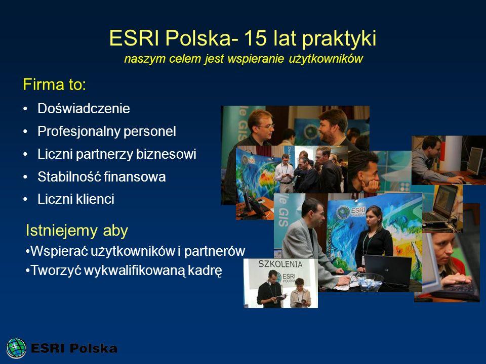 ESRI Polska- 15 lat praktyki naszym celem jest wspieranie użytkowników Firma to: Doświadczenie Profesjonalny personel Liczni partnerzy biznesowi Stabi