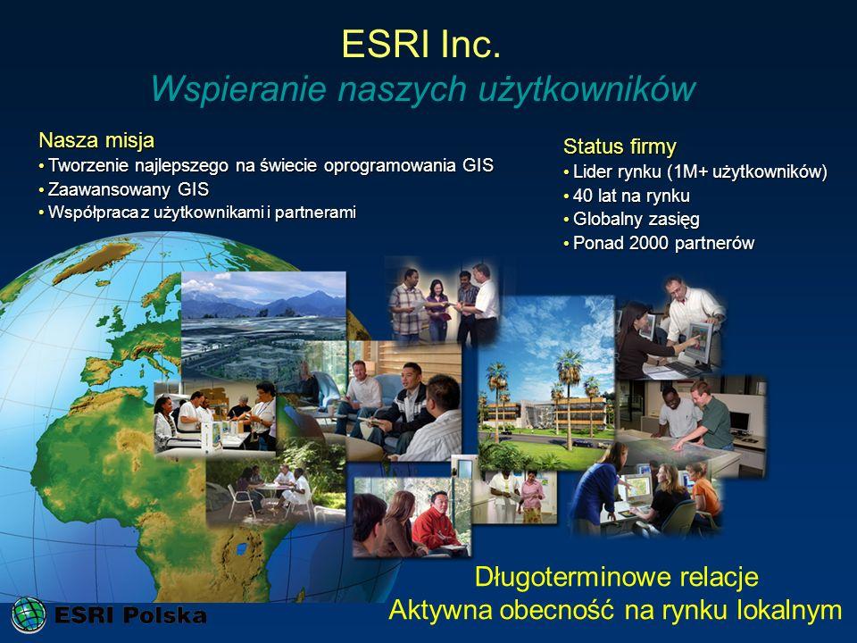 ESRI Inc. Wspieranie naszych użytkowników Status Growing Growing Financially Strong Financially Strong Many Strong Relationships Many Strong Relations