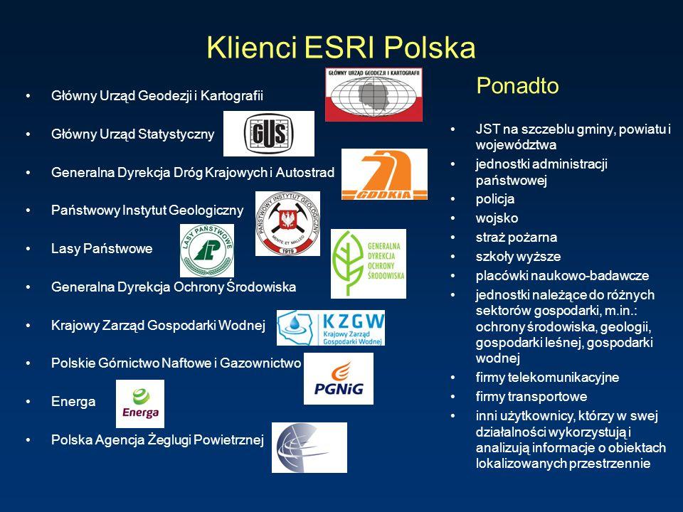 Klienci ESRI Polska Główny Urząd Geodezji i Kartografii Główny Urząd Statystyczny Generalna Dyrekcja Dróg Krajowych i Autostrad Państwowy Instytut Geo