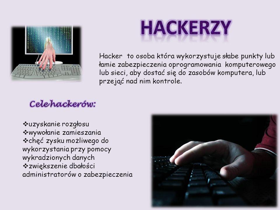 Hacker to osoba która wykorzystuje słabe punkty lub łamie zabezpieczenia oprogramowania komputerowego lub sieci, aby dostać się do zasobów komputera,