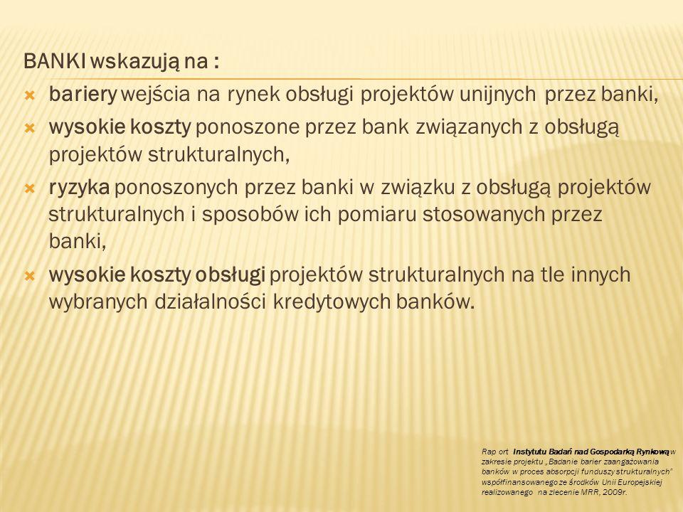 BANKI wskazują na : bariery wejścia na rynek obsługi projektów unijnych przez banki, wysokie koszty ponoszone przez bank związanych z obsługą projektó