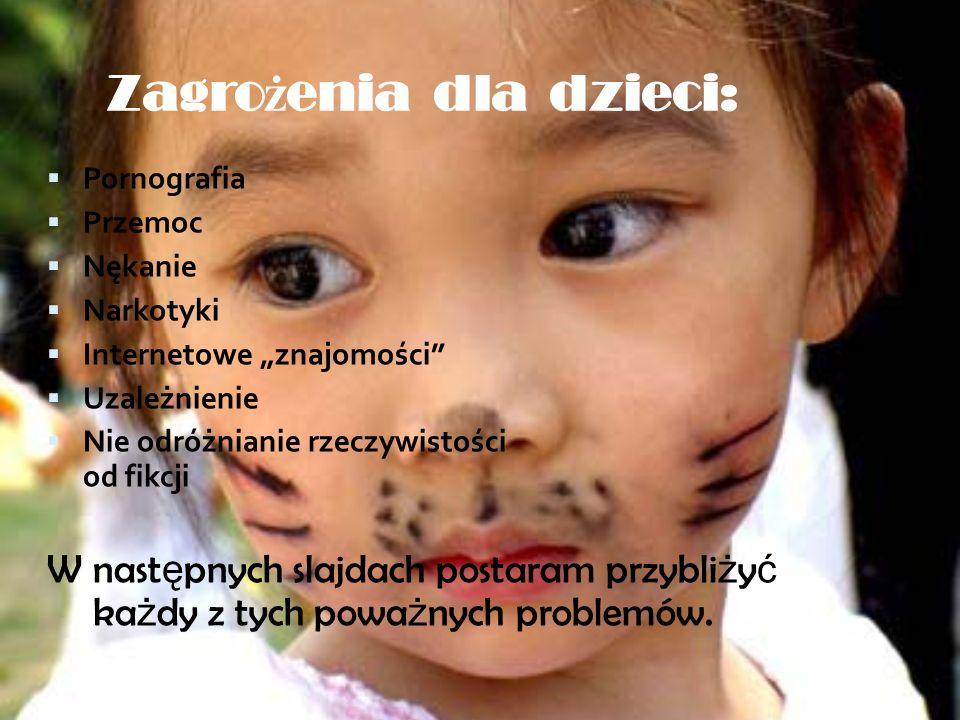 Korzystałam z: http://www.safekid.pl/css/bezpieczne-dziecko.jpg http://polish.cri.cn/mmsource/images/2005/07/28/cri_050728_dzieci5.jpg http://www.republikadzieci.pl/rd/images/zoom/BUPXHP/malakobietazb alonami.jpg http://www.obiektywni.pl/upload/real/18/86809_557441.jpg http://www.programosy.pl/download/screens/328/opiekun-dziecka-w- internecie-1_s.png http://img150.imageshack.us/i/5adamhc8.jpg/ http://www.cmppp.edu.pl/node/22778 http://www.superkid.pl/blog/wp-content/uploads/2006/11/ech-zycie-jest- pelne-problemow.png http://www.se.pl/media/pics/2009/12/14/komputer_460x370.jpg