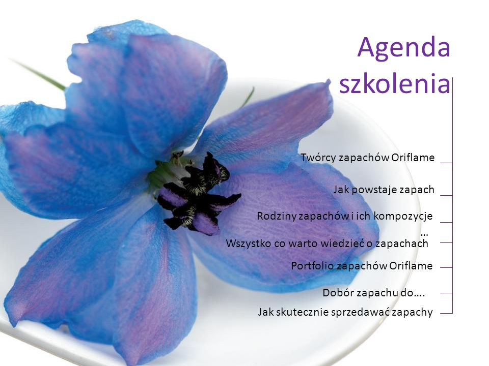 Agenda szkolenia Twórcy zapachów Oriflame Jak powstaje zapach Rodziny zapachów i ich kompozycje Portfolio zapachów Oriflame … Wszystko co warto wiedzi