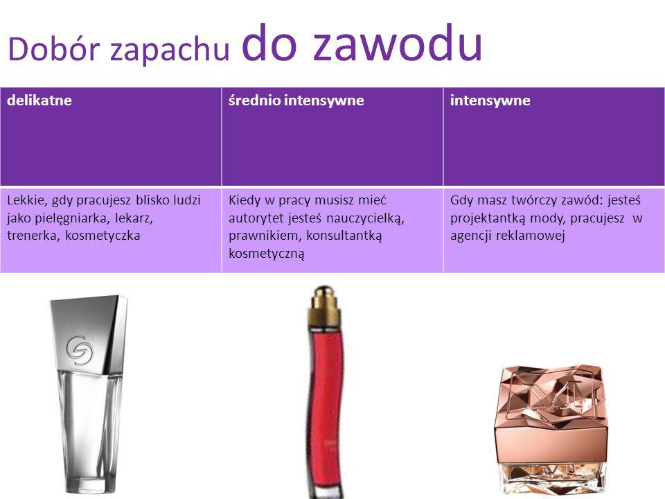 Dobór zapachu do zawodu delikatneśrednio intensywneintensywne Lekkie, gdy pracujesz blisko ludzi jako pielęgniarka, lekarz, trenerka, kosmetyczka Kied